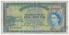 Bermuda Banknote 1 Pound 1957 P20b VF Rare Queen Elizabeth No Security Strip NR