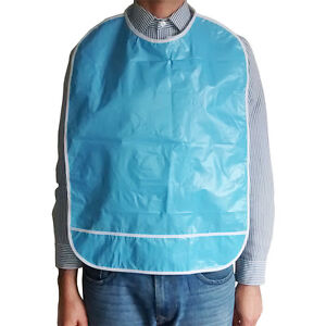 Adult dribble bib with pocket (blue)