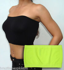 Seamless Strapless Bandeau no Pads NEON YELLOW Tube Top Bra FREE SHIPPING to USA
