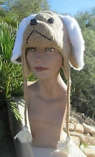 DOG HAT knit ADULT beige fluffy deLux ear costume LND animal cap for human heads