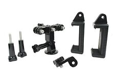 Dual Device Mount Parts fr Streaming or Video Recording w/ 2 Phones clamp gopro