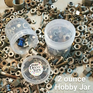 10 New Plastic Craft Organization JARS 2 ounce Hobby Slime Container Screw Cap