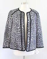 NWT Kasper Black Gray Leopard Print Scuba Blazer Jacket Open Front Size 12