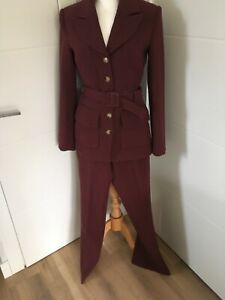 H&M BURGUNDY SINGLE  BREASTED TROUSER SUIT SIZE 8&10 100% GENUINE NEW WITH TAG