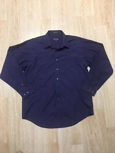 Marquis Large Purple Button Up 16.5 Dress Shirt Chest Pocket Long Sleeve
