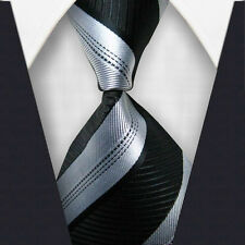 1xGrey BLK Striped Skinny Tie Slim Punk Party Fashion Necktie Formal Casual M032