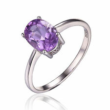 1.1ct Lovely Genuine Amethyst Oval Solid Sterling Silver Ring Sizes 6 Ladies