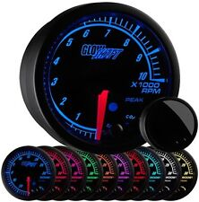 "2 1/16"" GlowShift Black Elite 10 Tachometer w Adjustable RPM Warnings GS-ET10"