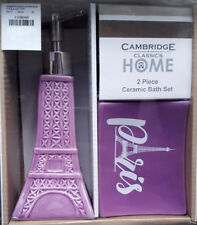 PARIS EIFFEL TOWER SOAP DISH PUMP LOTION DISPENSER 2 PC SET PURPLE BATH DECOR
