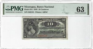 NICARAGUA 10 Centavos 1938, P-87a, Banco Nacional, PMG 63 Ch UNC, Scarce Type