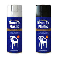 Rust-Oleum Superior Direct To Plastic Aerosol Spray Paint White or Black Gloss