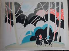 Albert ZAVARO Lithographie signée numér. lithograph Cavaliers en forêt cheval *