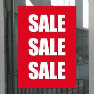 +Poster Plakat SALE rot/weiß Schaufenster Werbung 100g Papier glänzend DIN A3 +