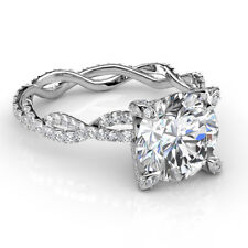 2.0 CTW Natural Round Cut Twisted Eternity Pave Diamond Engagement Ring - GIA