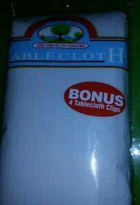 Plastic FlannelbackTablecloth w/4 BONUS Clips, (White)Outdoor,BBQ Camping,
