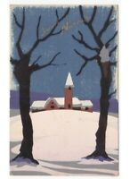 1942 Hand-Painted Card D'Epoca Chiesa By Country Winter Snow