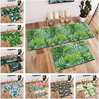 Watercolor Tropical Palm Leaf Flamingo Birds Area Rugs Bedroom Kitchen Floor Mat