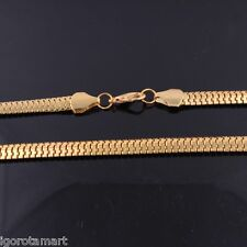 Da Uomo Mans Fashion placcato oro 24K piatto Franco Serpente Collana Catena con osso 60 cm