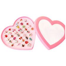 1Box (36pcs) Rings Adjustable Cartoon Cute Kids (Heart box Color: Pink) Y8L5