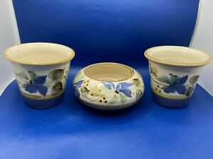 Set of 3 Matching Handpainted Floral Glazed Small Succulent Planter Set