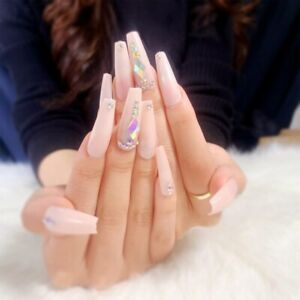Nude Coffin Fake Nails With AB Rhinestones Design Artificial Press On Nail Tips
