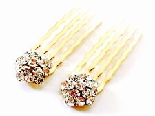 USA Mini Hair Comb Small Clear Swarovski ELMT Crystal Bridal Wedding Clip Gold