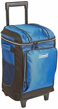 Cooler With Wheels Wheeled Roller Rolling Ice Chest Bag Telescoping Handle Blue