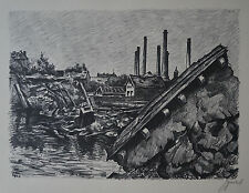 "JACQUES GACHOT (1885/1954) Litho  "" BOMBARDEMENT MATHIS STRASBOURG  "" - Signé"