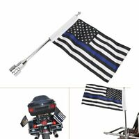 "Motorcycle Flag Pole Mount+6""x9"" Blue Line US Flag For Honda Goldwing CB VTX CBR"