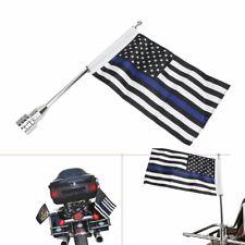 "Motorcycle Flag Pole Mount+6""x9"" Blue Line US Flag For Honda Goldwing CB VTX CBR"