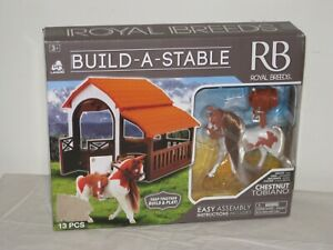 NEW Royal Breeds Horse Stable 13 Piece Play Set Toy Chestnut Tobiano