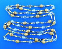 Vintage Crystal Bead  Long Necklace Strand 56 Inch