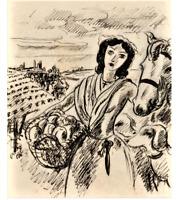 """André DIGNIMONT- """"Sapho"""" - Dessin à l'encre encadré - 1931"""