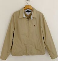 Vintage 90's TOMMY HILFIGER Men Harrington Jacket Sz L Crest Beige Tan Full Zip