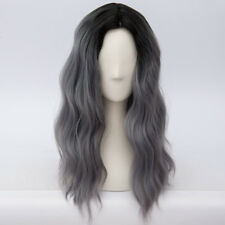 Lolita Ombre Black Mixed Gray 55CM Long Curly Party Cosplay Wig Heat Resistant