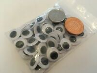 1 sample pair 12mm googley googly wibbly wiggly wobbly craft eyes, self adhesive