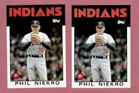 1986 TOPPS TRADED #77T PHIL NIEKRO RC INDIANS ROOKIE 2 CARD LOT SET BREAKS