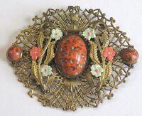 Vintage Jewelry Magnificent Brooch Art Glass Stones Enameled Flwr Brass Filigree