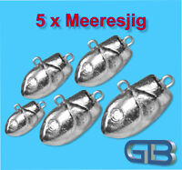 5 x Meeresjig Dorschbombe 25g - 75g Jig Bleikopf Fischkopf Jigkopf.
