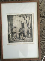 Antique Primitive Suffering Catholic Tobit Apocrypha Woodcut Engraving 1800's