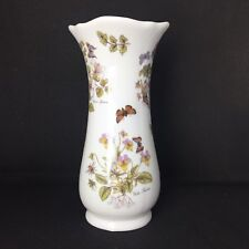 James Dean Pottery Bone China Botanical Floral Insect Vase UK Made 16cm Tall