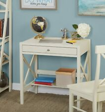 X Desk with Pullout Drawer and Shelf Antique White