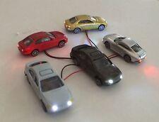 Lot of 5 Lighted LED Ho Scale Model Train Plastic Cars Auto Automobile Vehicles