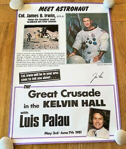 Rare Poster Of Apollo 15 Col James Irwin's  Visit To Kelvin Hall 1981