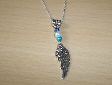 TIBET SILVER WING & ROSE PENDANT WITH BLUE BEADS & 18 inch CHAIN