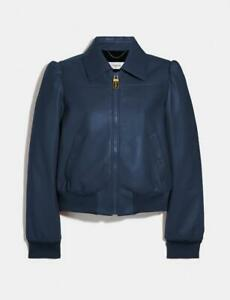 Coach Leather Blouson Jacket Navy Brand New 100% authentic UK size 10 US06