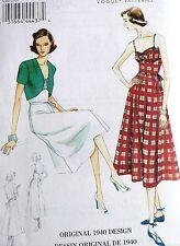 Oop Vogue Vintage Model 1940's Dress, Belt & Bolero Sewing Pattern V8812 Sz 6-22
