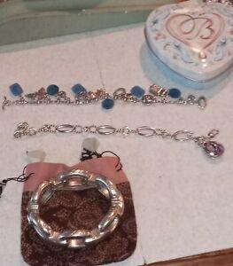 3pc Lot Brighton bracelets-1hinged bangle,2 linked charm bracelets