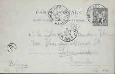 ENTIER  POSTAL  CARTE POSTALE  TYPE SAGE 1893