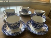 Staffordshire Tableware England Blue & White 5 Cups& Saucers Horse & Buggy